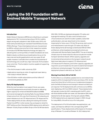 Laying the 5G Foundation with an Evolved Mobile Transport Network